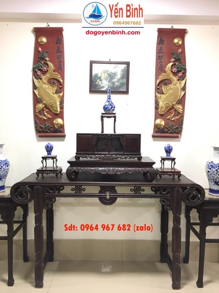 Bàn quấn đồng tiền gỗ gụ trang trí phòng khách và phòng thờ2