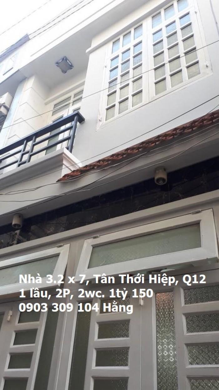 Nhà bán 3.2m x 7, 1 lầu 2P, 2wc Tân Thới Hiệp 21