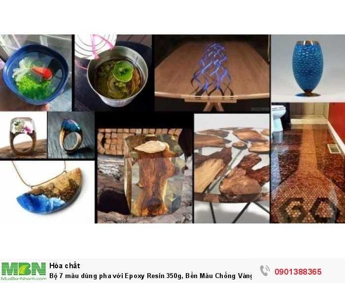 Bộ 7 màu dùng pha với Epoxy Resin 350g, Bền Màu Chống Vàng Nhựa - MSN3883814