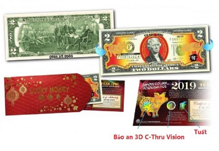 Tiền 2 USD Hình Con Heo Mạ Vàng 2019 Mỹ lì xì tết2