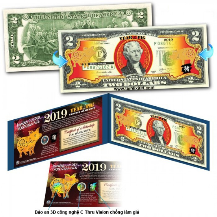 Tiền 2 USD Hình Con Heo Mạ Vàng 2019 Mỹ lì xì tết1