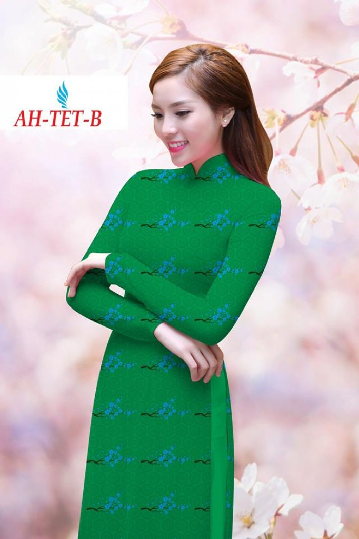 Vải áo dài đẹp in 3D AH TET10