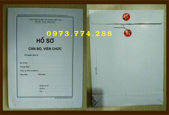 Bán vỏ hồ sơ cán bộ công chức viên chức10