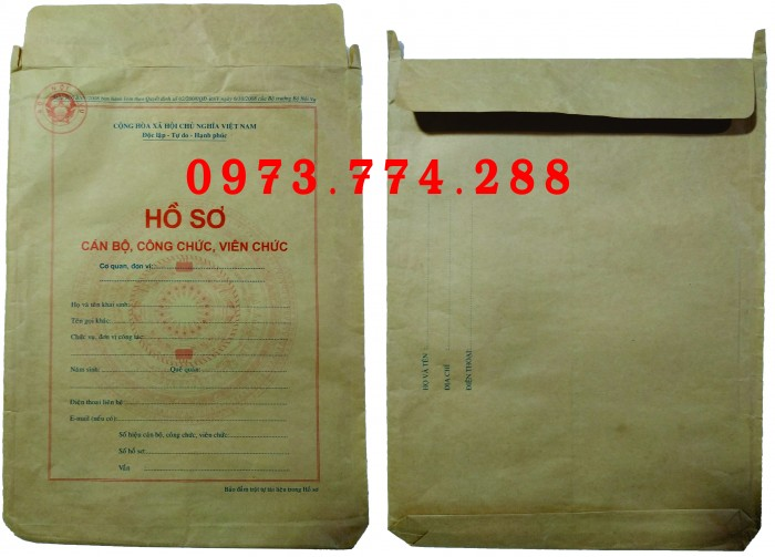 Bán vỏ hồ sơ cán bộ công chức viên chức0
