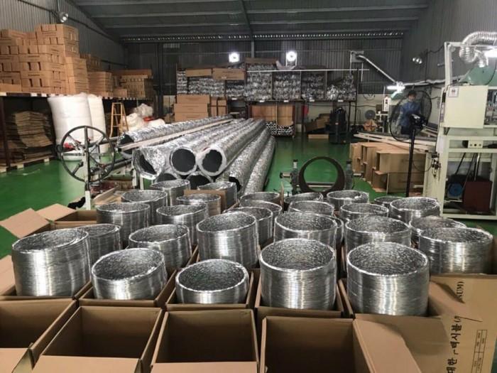 Nơi đóng gói Ống gió nhôm, ống nhôm nhún, ống nhôm định hình phi 100, phi 125, phi 150, phi 200, phi 30013