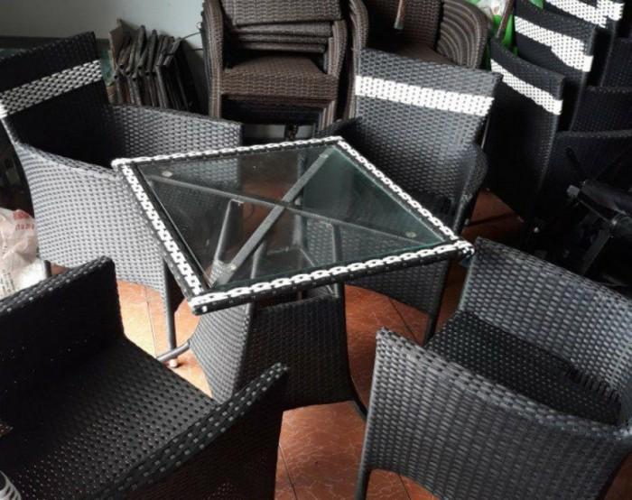 Bàn ghế cafe mây nhựa giá tại sản xuất tại xưởng HGH 003304