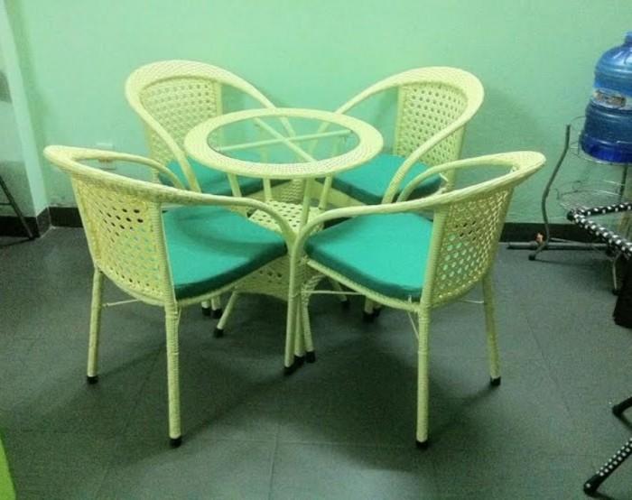Bàn ghế cafe mây nhựa giá tại sản xuất tại xưởng HGH 003301