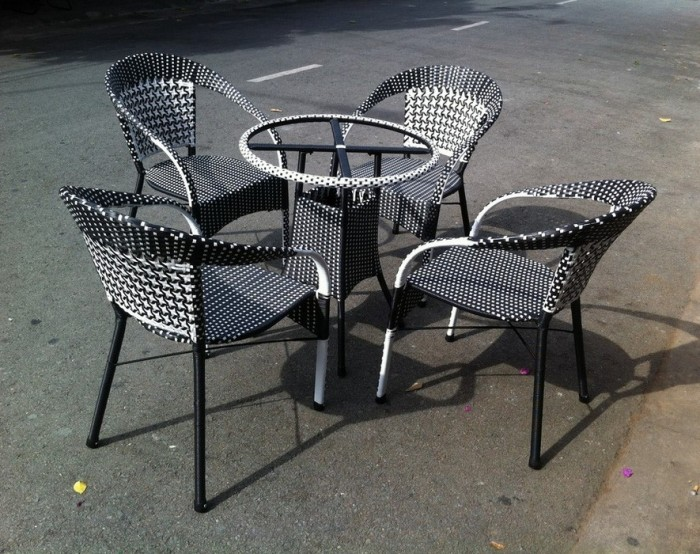 Bàn ghế cafe mây nhựa giá tại sản xuất tại xưởng HGH 003300