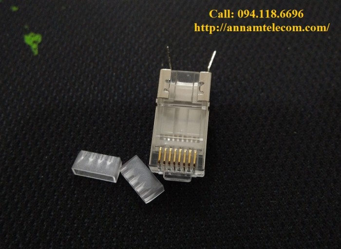 Bộ hộp Hạt mạng+ chụp Cat7/Cat6A chống nhiễu FTP có đuôi2