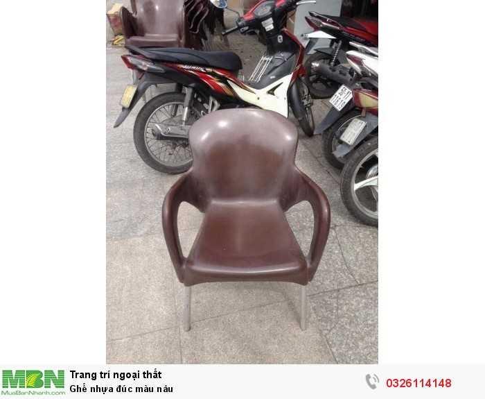 Ghế nhựa đúc màu nâu0