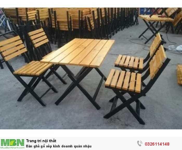 Bàn ghế gỗ xếp kinh doamh quán nhậu0