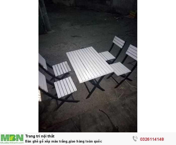 Bàn ghế gỗ xếp màu trắng,giao hàng toàn quốc0