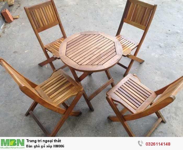 Bàn ghế gỗ xếp HM0060