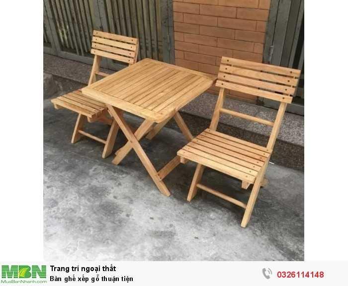 Bàn ghế xếp gỗ thuận tiện