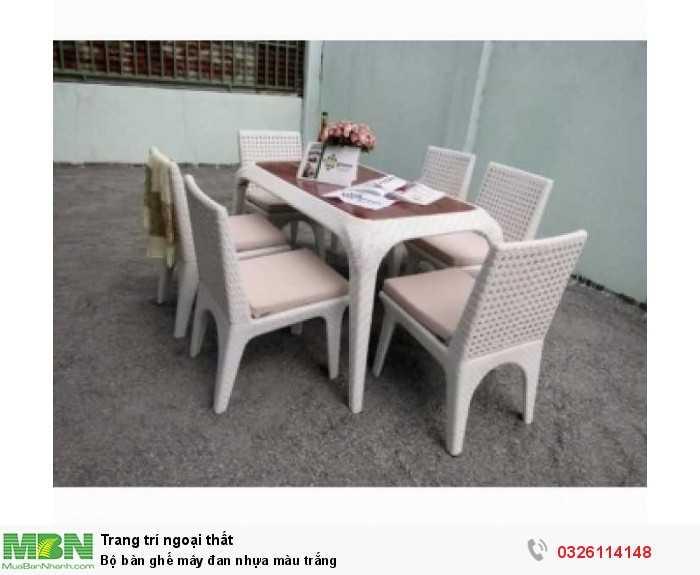 Bộ bàn ghế mây đan nhựa màu trắng