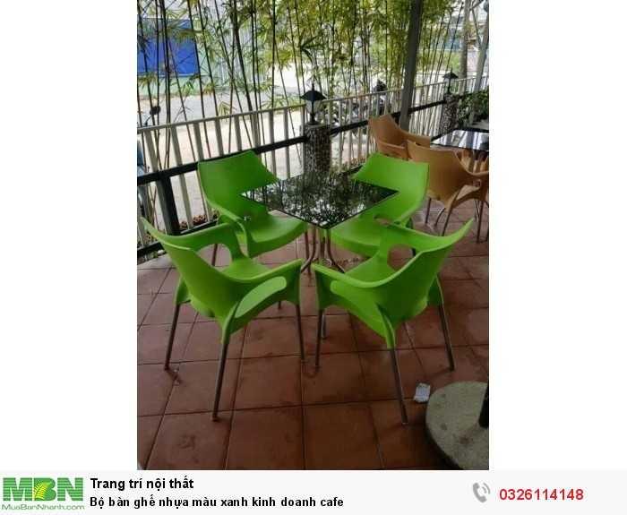Bộ bàn ghế nhựa màu xanh kinh doanh cafe0