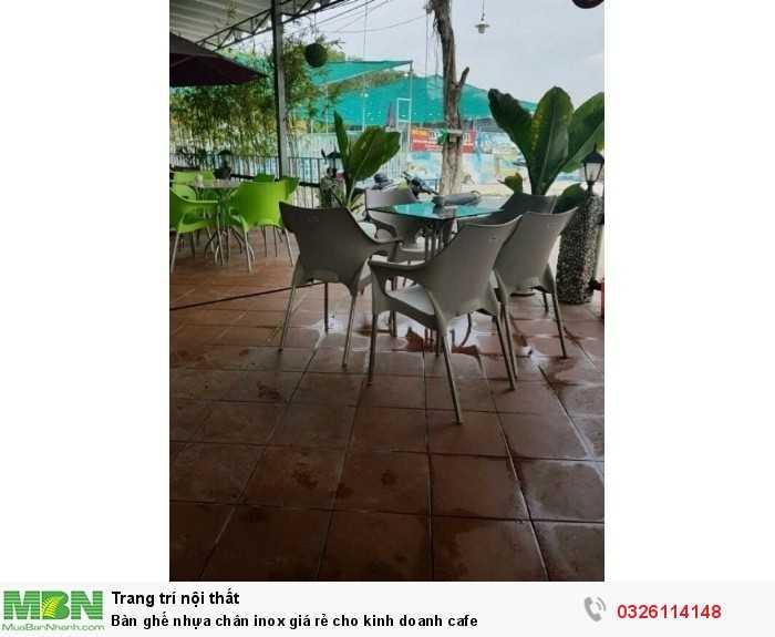 Bàn ghế nhựa chân inox giá rẻ cho kinh doanh cafe0