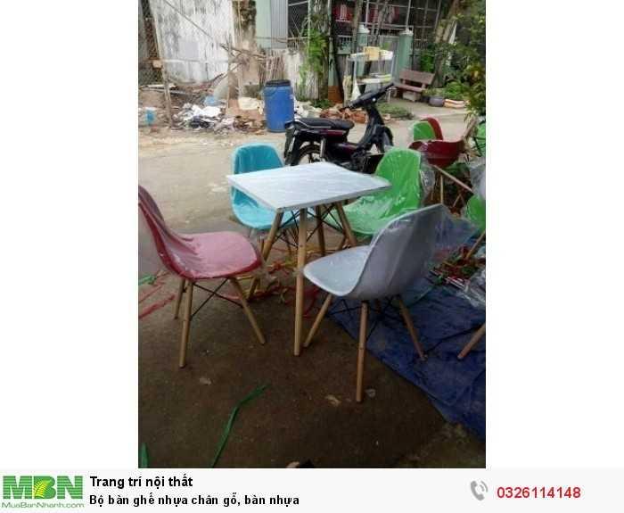 Bộ bàn ghế nhựa chân gỗ, bàn nhựa0