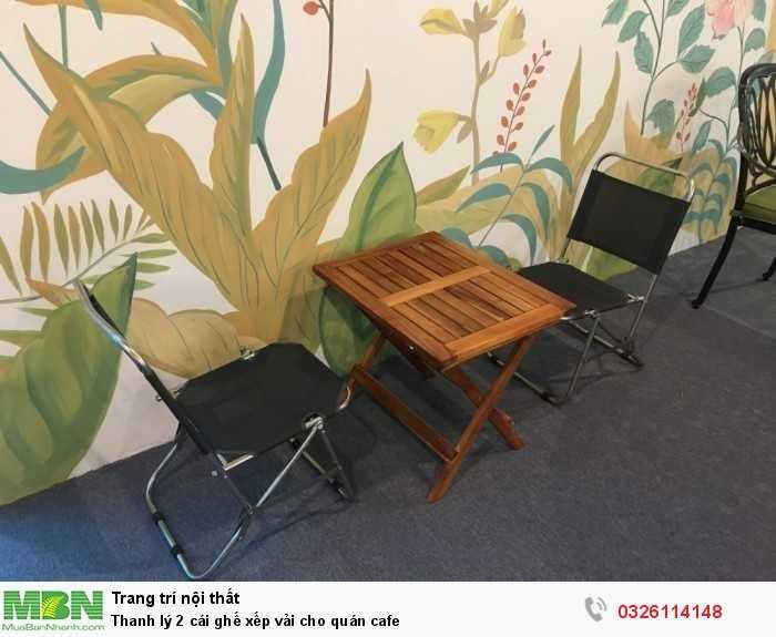 Thanh lý 2 cái ghế xếp vải cho quán cafe0