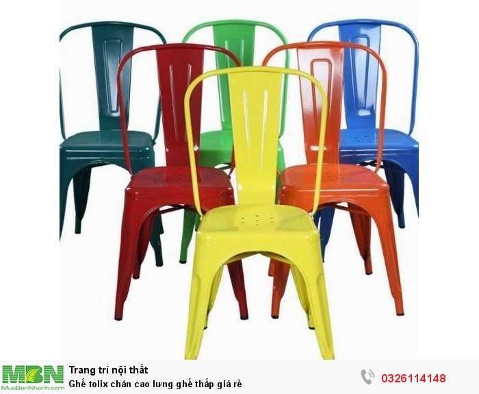 Ghế tolix chân cao lưng ghế thấp giá rẻ0
