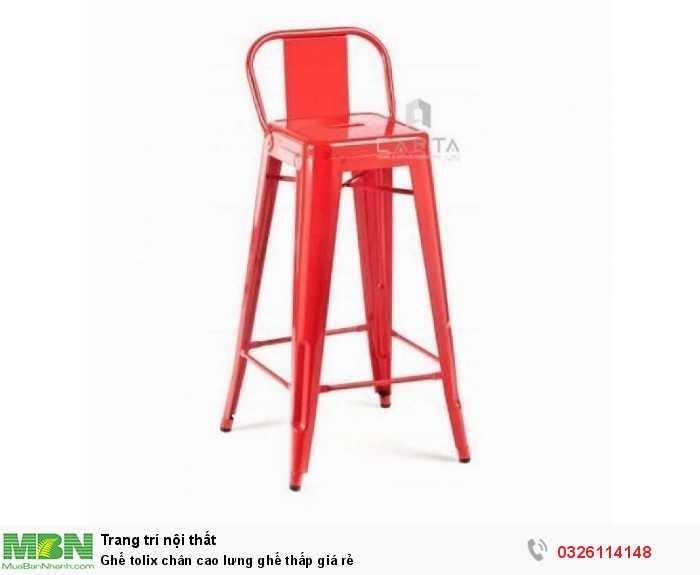 Ghế tolix chân cao lưng ghế thấp giá rẻ1