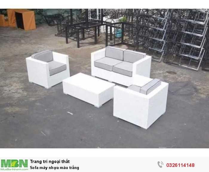 Sofa mây nhựa màu trắng
