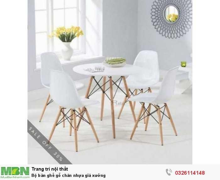 Bộ bàn ghế gỗ chân nhựa giá xưởng0