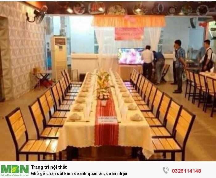 Ghế gỗ chân sắt kinh doanh quán ăn, quán nhậu
