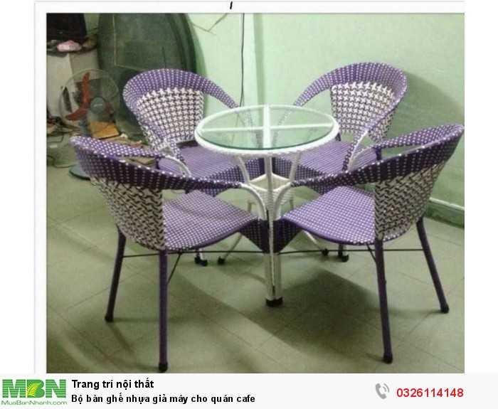 Bộ bàn ghế nhựa giả mây cho quán cafe0
