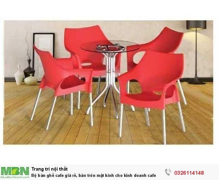 Bộ bàn ghế cafe giá rẻ, bàn tròn mặt kính cho kinh doanh cafe0