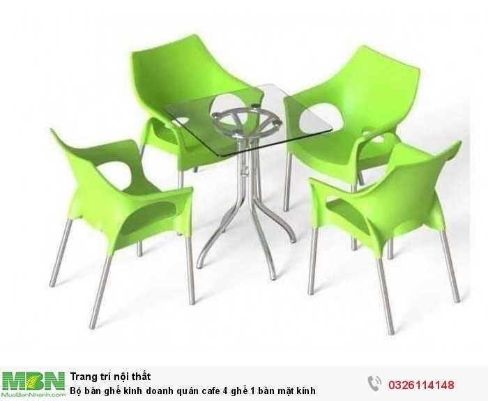 Bộ bàn ghế kinh doanh quán cafe 4 ghế 1 bàn mặt kính0