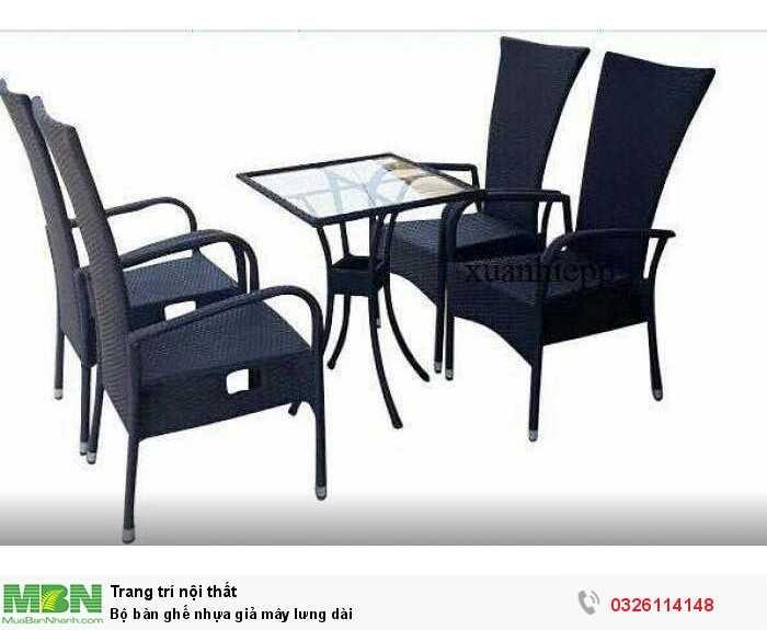 Bộ bàn ghế nhựa giả mây lưng dài0