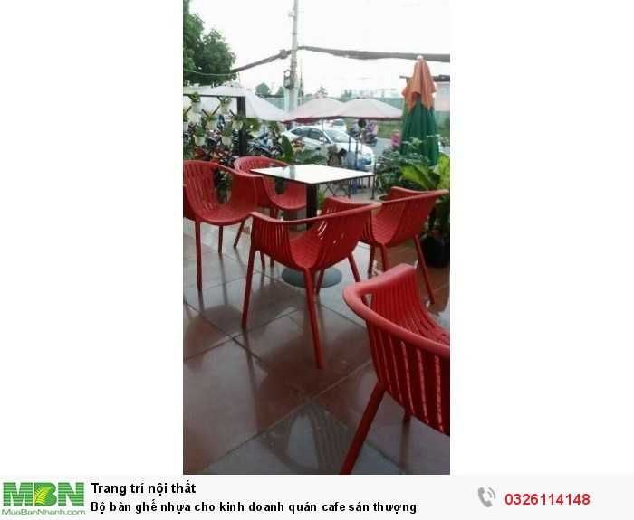 Bộ bàn ghế nhựa cho kinh doanh quán cafe sân thượng0