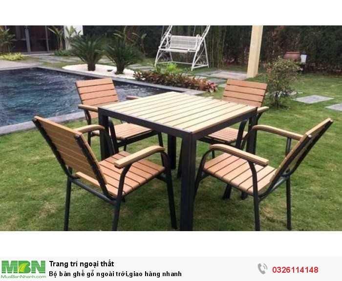 Bộ bàn ghế gỗ ngoài trời, giao hàng nhanh