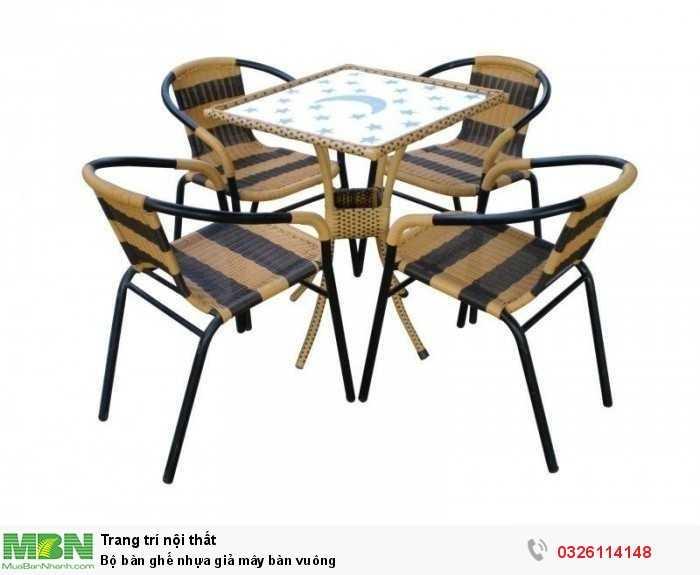 Bộ bàn ghế nhựa giả mây bàn vuông0