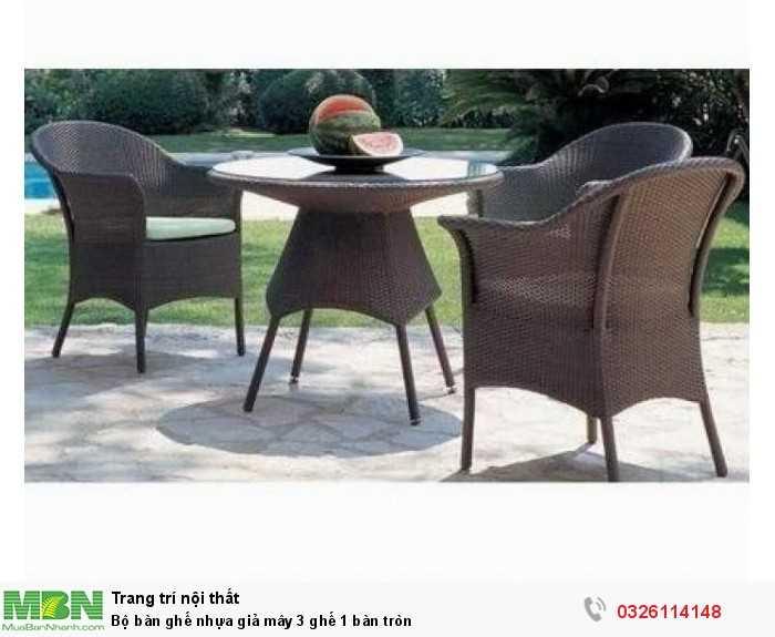 Bộ bàn ghế nhựa giả mây 3 ghế 1 bàn tròn0