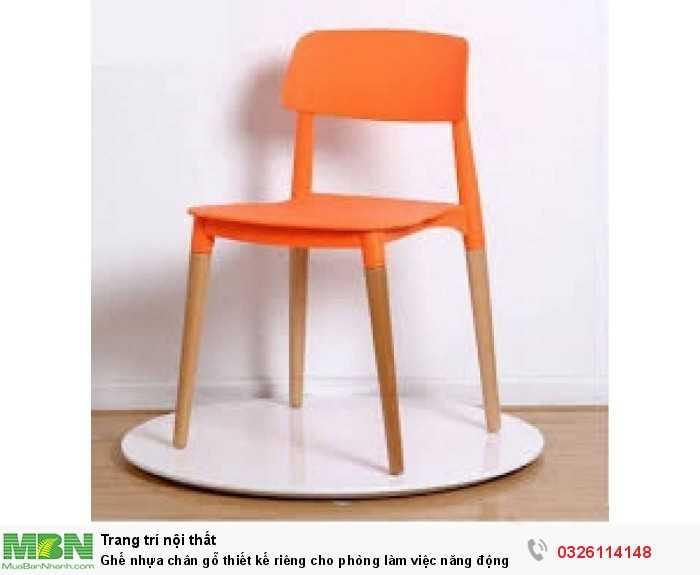 Ghế nhựa chân gỗ thiết kế riêng cho phòng làm việc năng động0