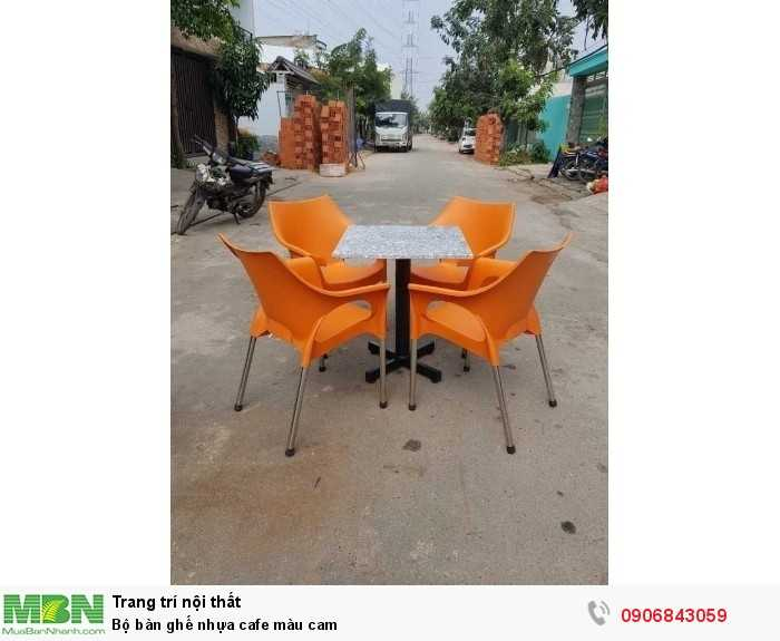 Bộ bàn ghế nhựa cafe màu cam0