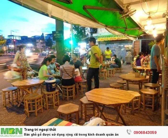 Bàn ghế gỗ được sử dụng rộng rãi trong kinh doanh quán ăn0