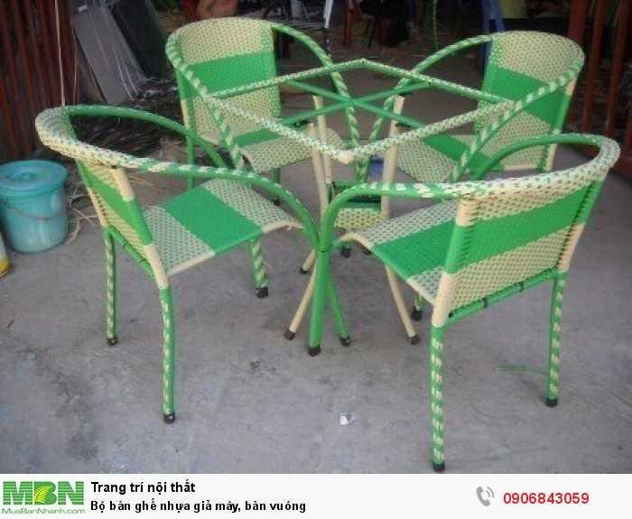 Bộ bàn ghế nhựa giả mây, bàn vuông0