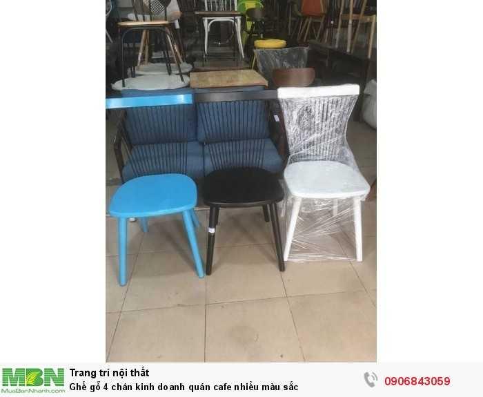 Ghế gỗ 4 chân kinh doanh quán cafe nhiều màu sắc0