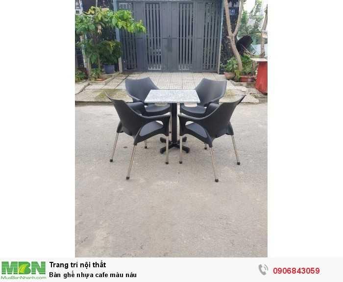 Bàn ghế nhựa cafe màu nâu0