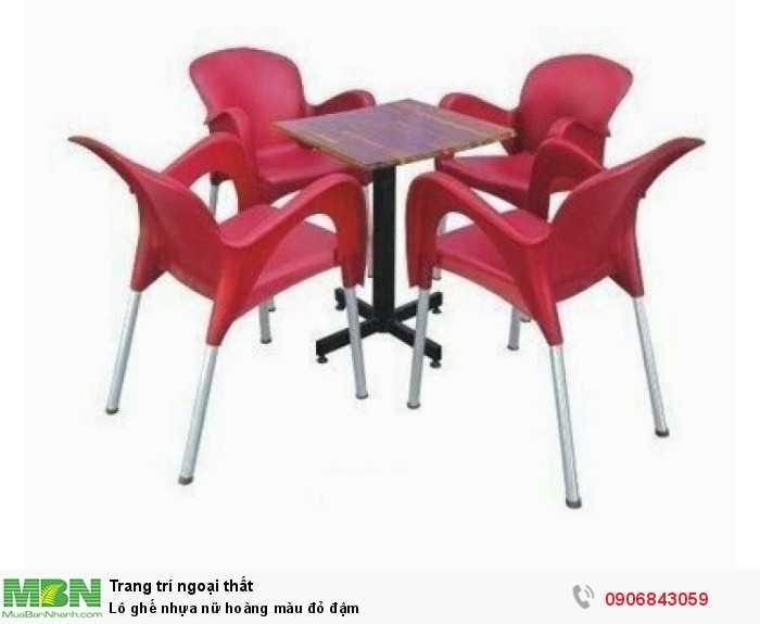 Lô ghế nhựa nữ hoàng màu đỏ đậm0