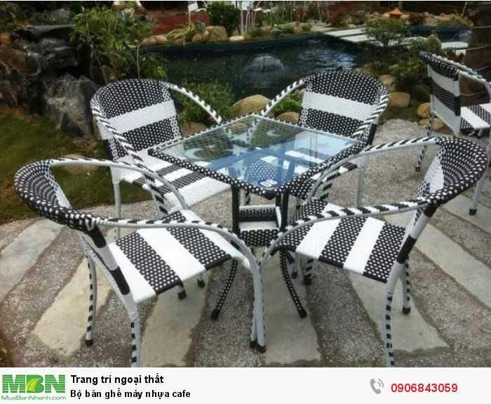 Bộ bàn ghế mây nhựa cafe0