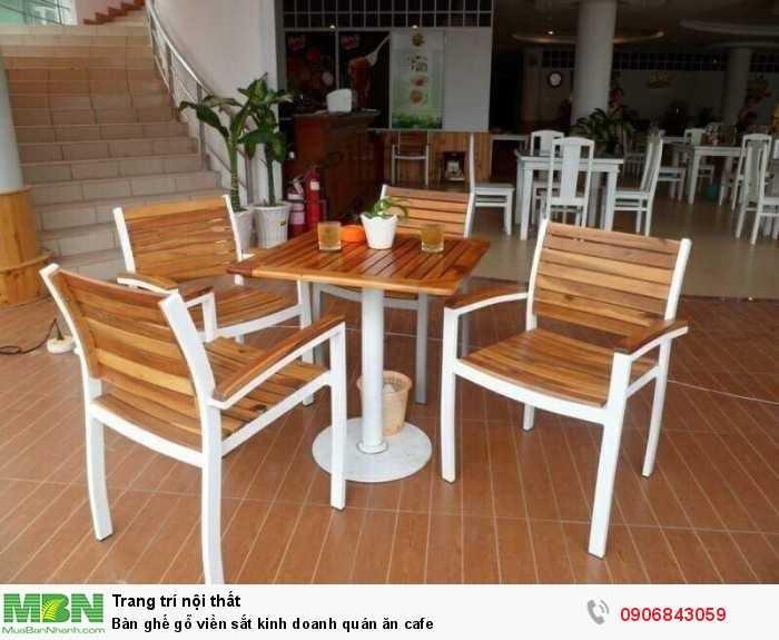 Bàn ghế gỗ viền sắt kinh doanh quán ăn cafe0