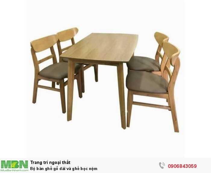 Bộ bàn ghế gỗ dài và ghế bọc nệm0