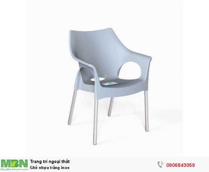 Ghế nhựa trắng inox0