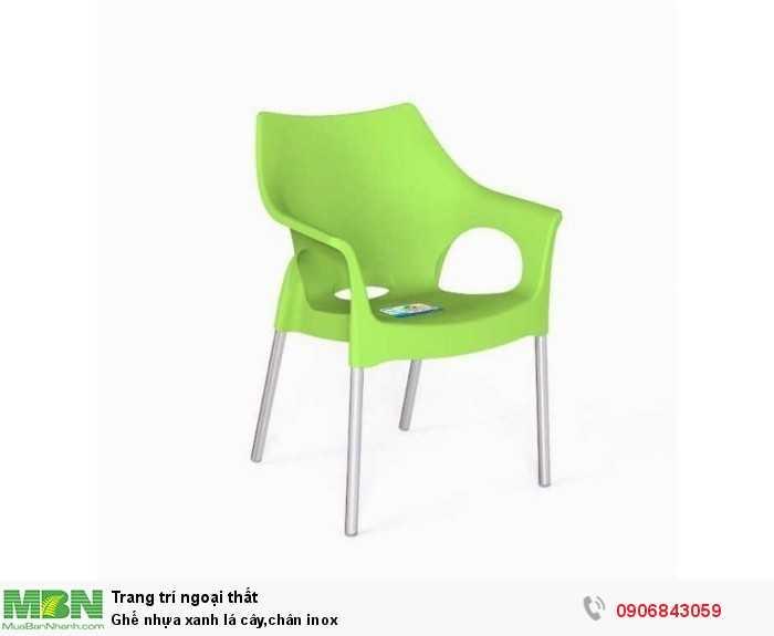 Ghế nhựa xanh lá cây,chân inox0