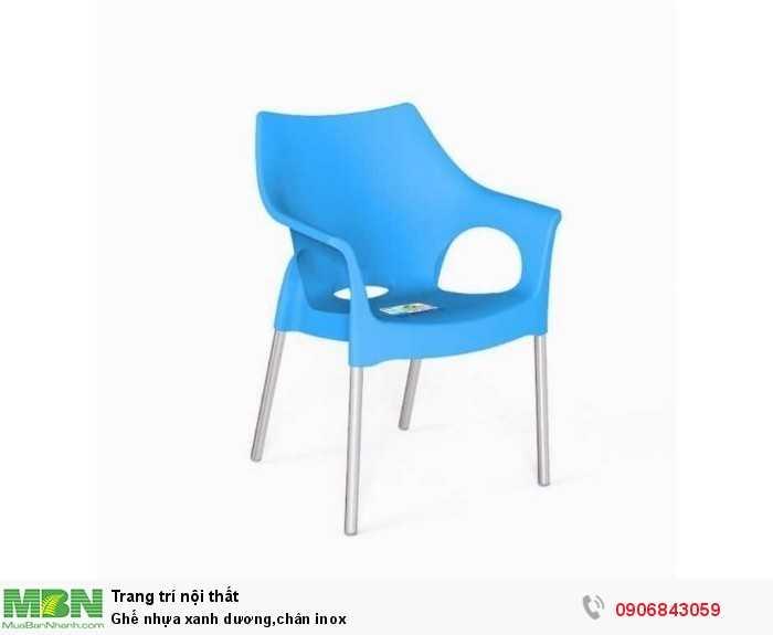 Ghế nhựa xanh dương,chân inox0