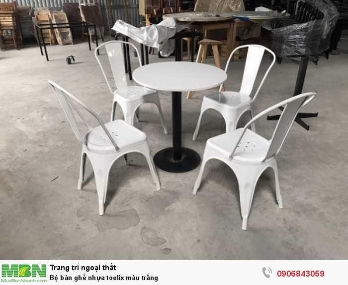 Bộ bàn ghế nhựa toelix màu trắng0